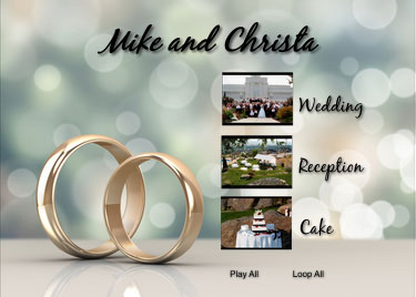wedding slideshow menu